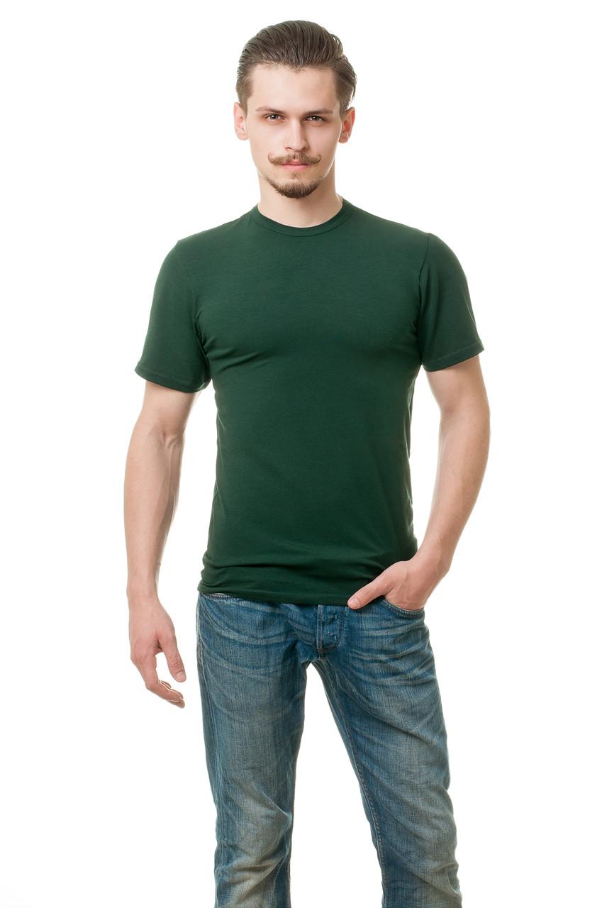 Чоловіча футболка з стрейч-котону класичного крою по фігурі, темно-зелена
