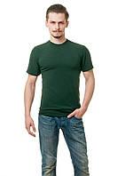 Мужская футболка из стрейч-коттона классического кроя по фигуре, темно-зеленая