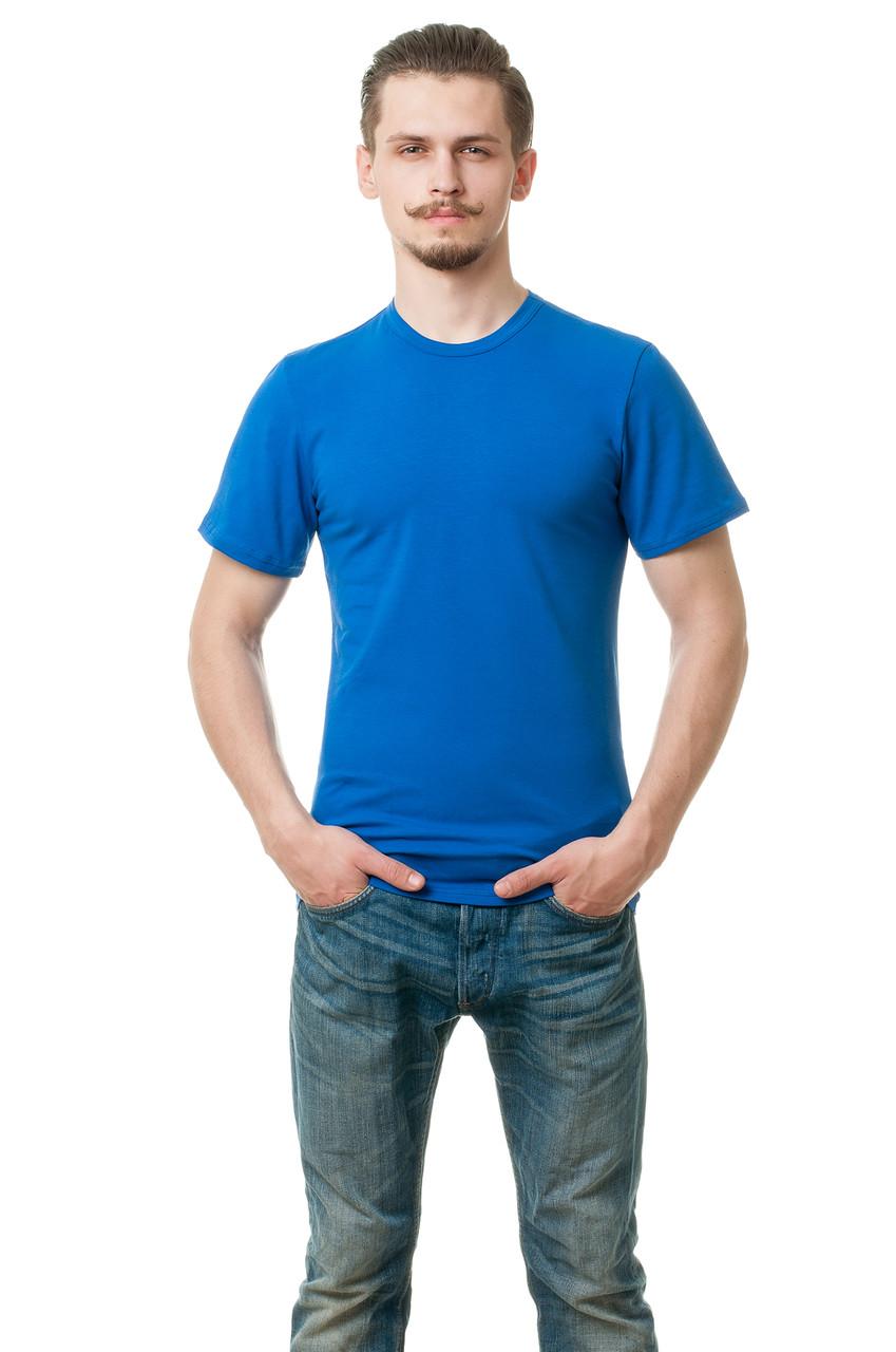 Мужская футболка из стрейч-коттона классического кроя по фигуре, цвета электрик