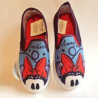 Слипоны, мокасины Disney (Arditex) для девочек с Мини Маус р.29-34