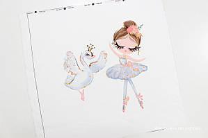 Панелька сатин Балерина с лебедем 40*40