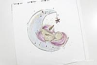 Панелька сатин Единорог на луне 40*40