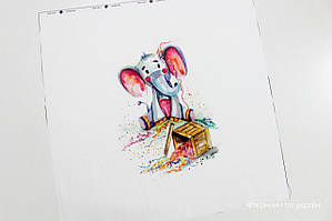 Панелька сатин Слон с конфетти  40*40