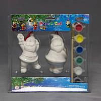 Набор для детского творчества - 2 Деда Мороза,8,6 см, 5 красок, кисточка, (021611)