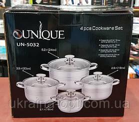 Набор 4 кастрюль с крышками UNIQUE UN-5032 (2.1 / 2.9 / 3.9 / 6.2 л)