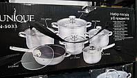Набор кастрюль UNIQUE UN-5033 2.1 / 2.9 / 3.9 / 6.2 л + ковш 2.1 л + сотейник 24 см (12 предметов)