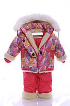 Зимний костюм на сплошном меху розовая галактика