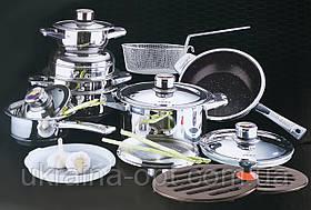 Набор кастрюль, Посуды Набор Кухонной, 19 Предметов, 9 Cлойное Тяжелое Дно
