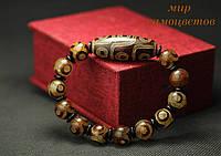 Мужской браслет с тибетской бусиной Дзи  из агата.
