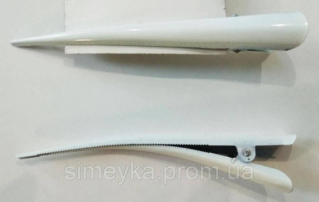 """Зажим стріла """"уточка"""" великий кольоровий глянсовий 12,5 см, 1 шт. Білий"""