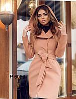 Кашемировое пальто женское с капюшоном в разных цветах, фото 1