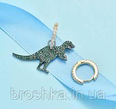 Асимметричные серьги зеленый динозавр бижутерия, фото 3