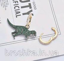 Асимметричные серьги зеленый динозавр бижутерия, фото 2