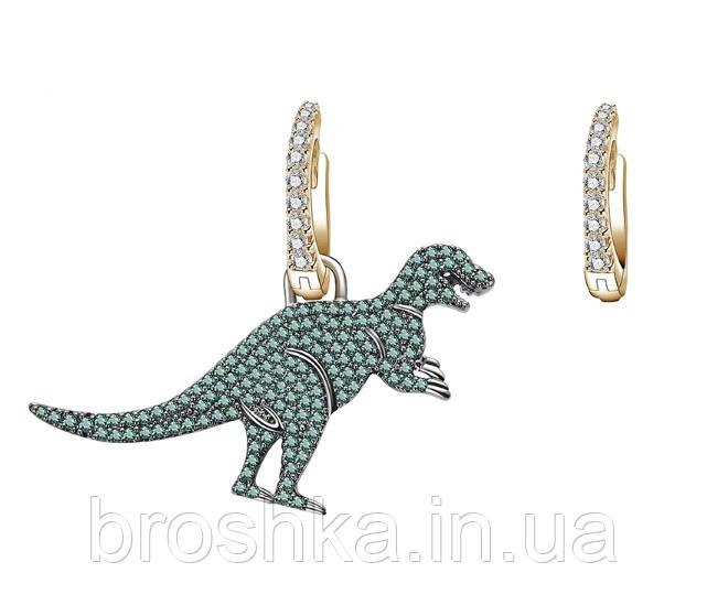 Асимметричные серьги зеленый динозавр бижутерия