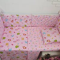"""Комплект постельного в кроватку + защита (бортики) ТМ """"Сон-тра"""" (простынь на резинке)"""