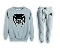 Мужской серый спортивный костюм Venum | черный логотип