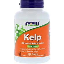 """Келп NOW Foods """"Kelp"""" поддержка щитовидной железы, 150 мкг (200 капсул)"""