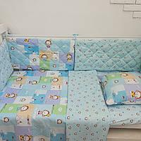 """Комплект постельного белья в кроватку + защита (бортики) ТМ """"Сон-тра"""" цвет сине-голубой"""