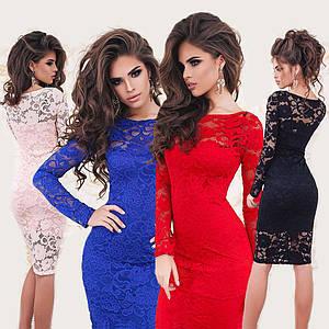 Гипюровое платье миди с длинным рукавом /разные цвета, 42-50р, sh-026/