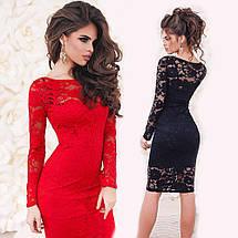 Гипюровое платье миди с длинным рукавом sh-025 (42-50р, разные цвета), фото 2