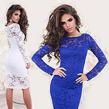 Гипюровое платье миди с длинным рукавом sh-025 (42-50р, разные цвета), фото 3