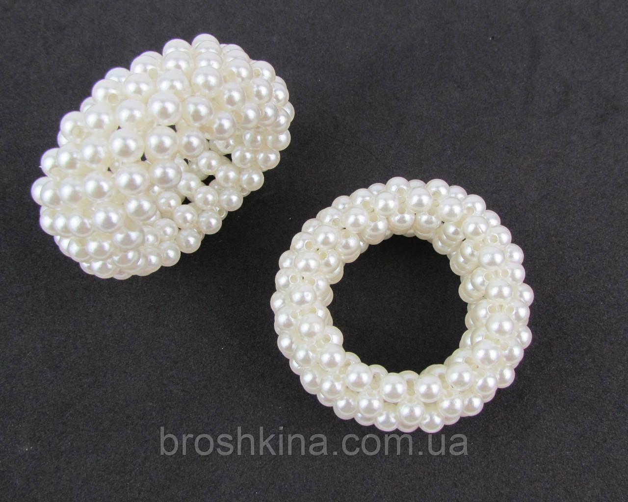 Жемчужные резинки для волос диаметр 5.5 см белые 6 шт/уп.