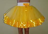 Дитяча пишна спідничка з фатину, на резинці, жовта, фото 1