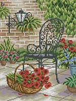 Набор для вышивки крестом Кресло и корзина с цветами. Размер: 18*23,8 см