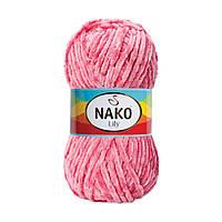 Плюшевая пряжа Nako Lily 816 темно-розовый (Нако Лили, Нако Лилу) нитки для вязания 100% полиэстер
