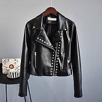 Женская куртка косуха из экокожи AFTF BASIC с заклепками черная L, фото 1