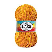 Плюшевая пряжа Nako Lily 4547 горчичный (Нако Лили, Нако Лилу) нитки для вязания 100% полиэстер