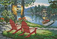 Набор для вышивки крестом Вечерний отдых у озера. Размер: 35,5*24,5 см
