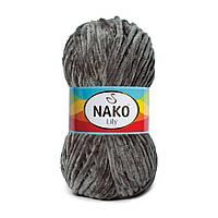 Плюшевая пряжа Nako Lily 4786 темно-серый (Нако Лили, Нако Лилу) нитки для вязания 100% полиэстер