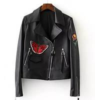 Женская куртка косуха AFTF BASIC из экокожи вышивкой черная M, фото 1