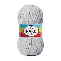 Плюшевая пряжа Nako Lily 3029 серебряный (Нако Лили, Нако Лилу) нитки для вязания 100% полиэстер