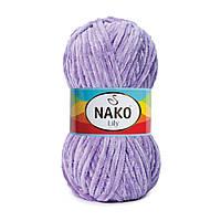 Плюшевая пряжа Nako Lily 2842 сиреневый (Нако Лили, Нако Лилу) нитки для вязания 100% полиэстер
