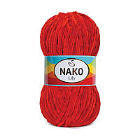 Плюшевая пряжа Nako Lily 452 красный (Нако Лили, Нако Лилу) нитки для вязания 100% полиэстер