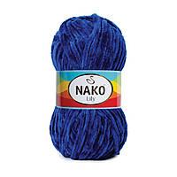 Плюшевая пряжа Nako Lily 4999 петроль (Нако Лили, Нако Лилу) нитки для вязания 100% полиэстер