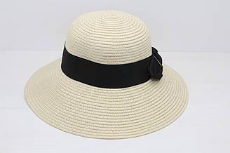 Женская летняя пляжная шляпа канотье от солнца светло-бежевого цвета с бантом