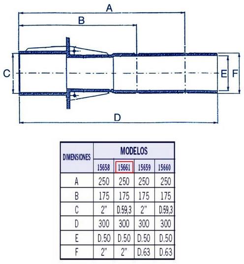Габаритні розміри прохід через бетон AstralPool 15661