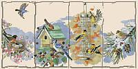 Набор для вышивки крестом Сезонные птицы. Размер: 35,5*17,5 см
