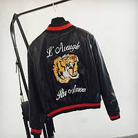 Жіноча куртка-бомбер AFTF BASIC Tiger з екошкіри чорна M, фото 1