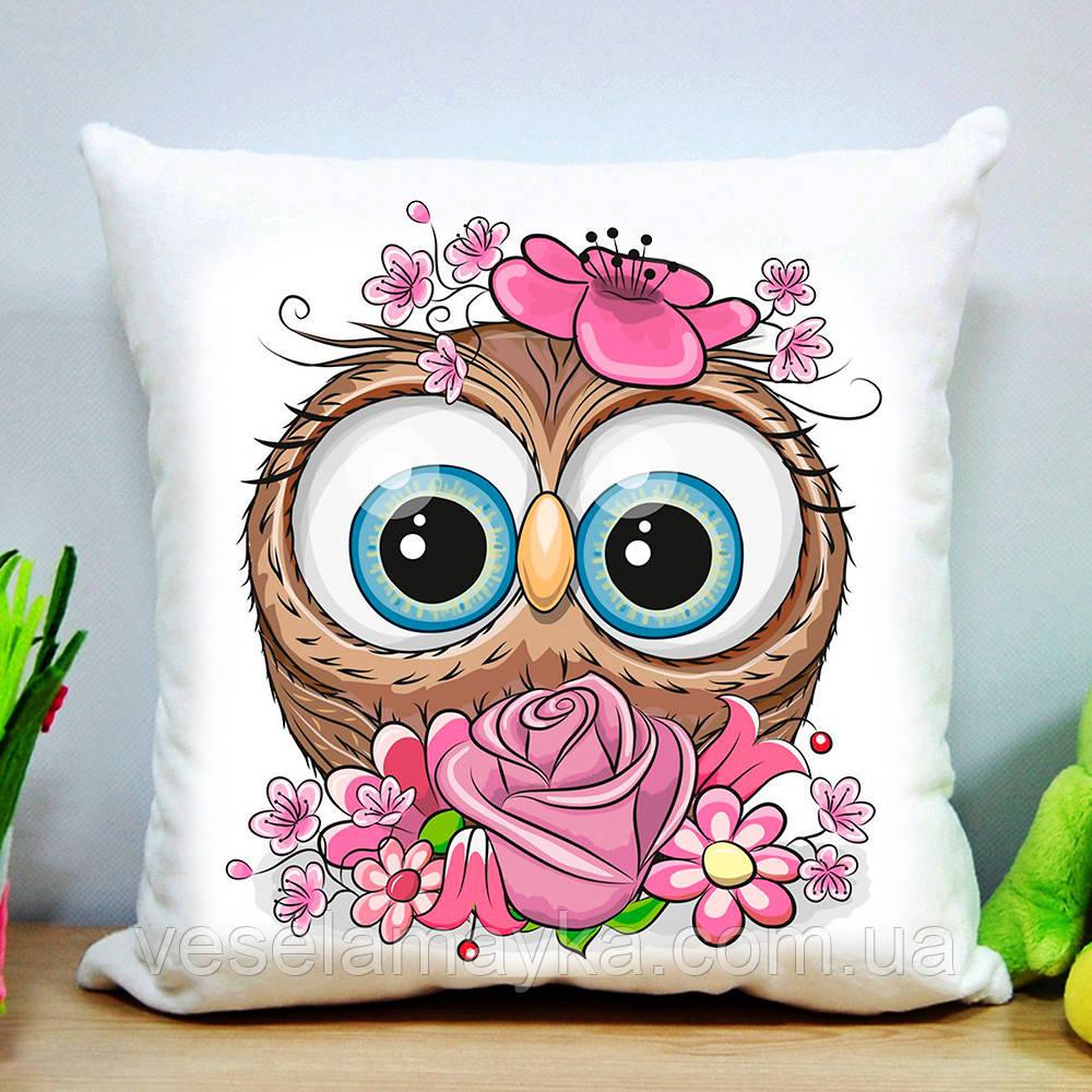 Дитяча подушка Сова з квіткою