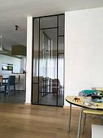 Стеклянные раздвижные двери с затемненным стеклом