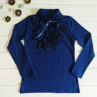 ✅Блузка на девочку синяя. Блузка школьная с кружевом Размеры  6-7