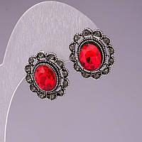 Серьги-пусеты овальные, с красными кристаллами оправа стразы , 18*16мм