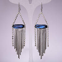 Серьги-подвески с синими овальными кристаллами и цепочками, 95*23мм