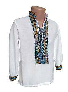 Сорочка Вишиванка з домотканного бавовни для хлопчиків р. 92 - 176