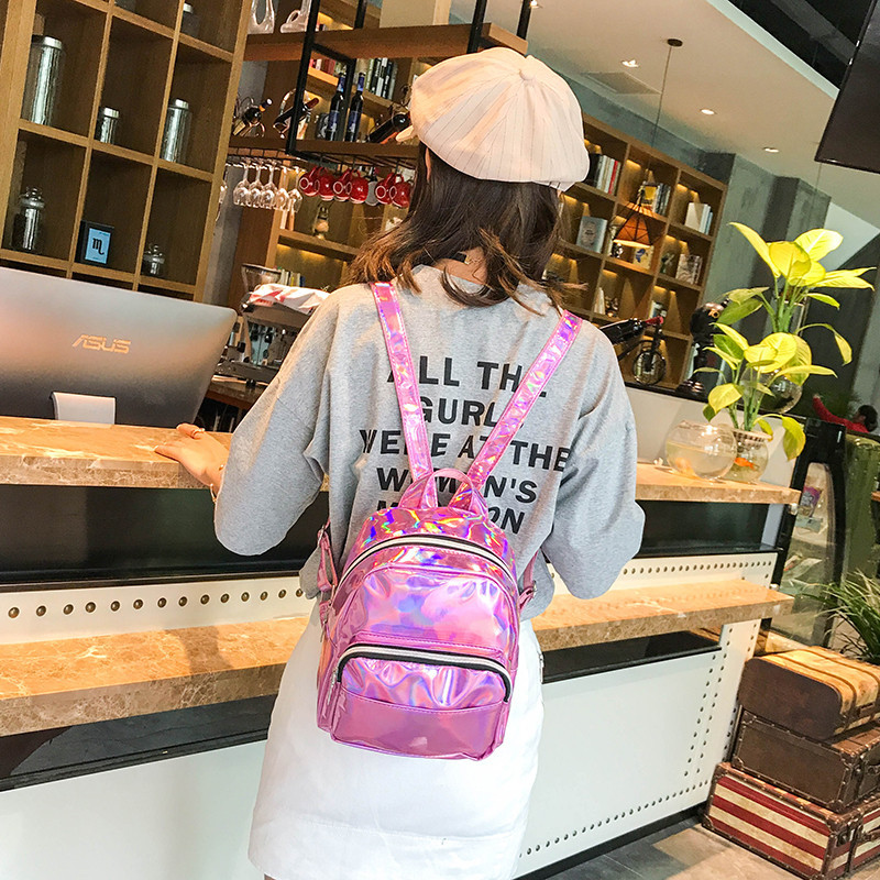 Товар с дефектом. Голограммный рюкзак розовый