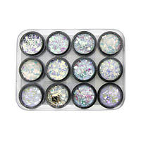 Декор для ногтей, Galaxy glitter, 12 цветов